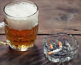 Alcohol and cigarettes before bedtime can lead to problems with snoring.