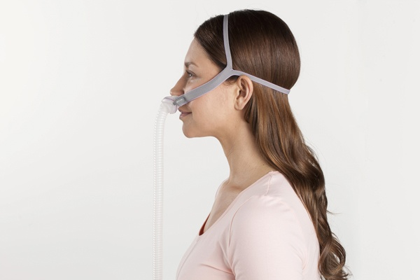 resmed airfit p10 nasal pillow side view