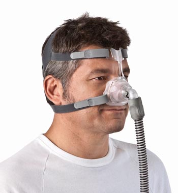 resmed mirage fx nasal cpap mask on man