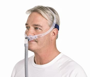swift fx nasal pillow mask on man